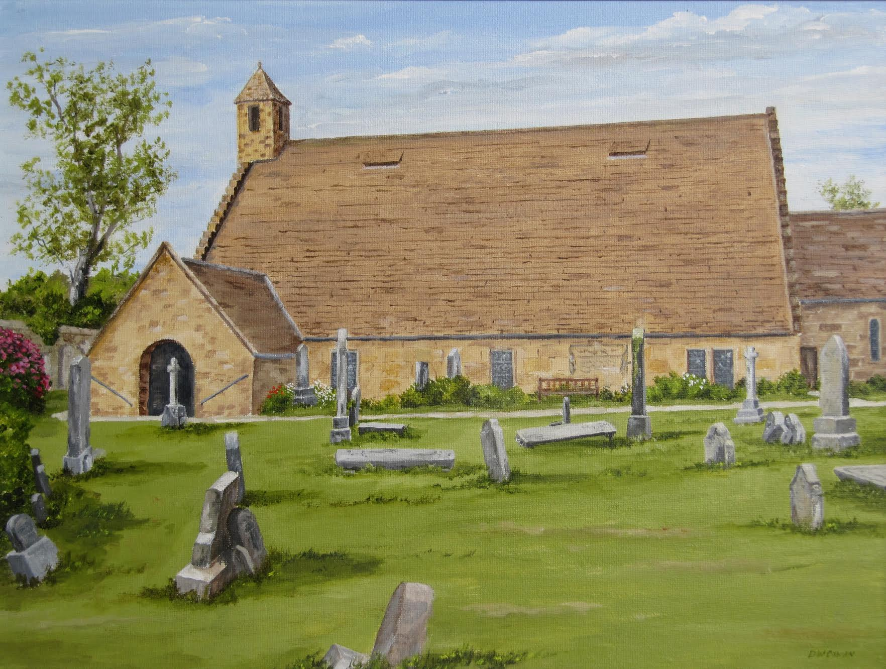 Painting by Wallace Cowan: St. Fillan's from the south
