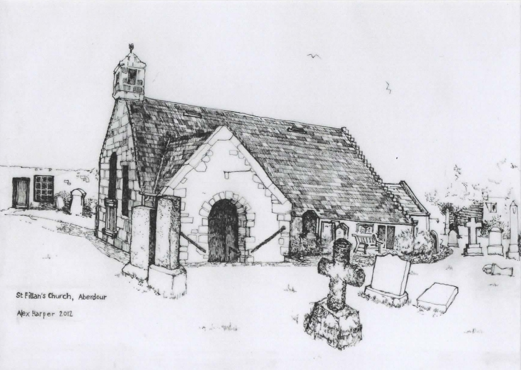 Drawing by Alex Harper, church from the south